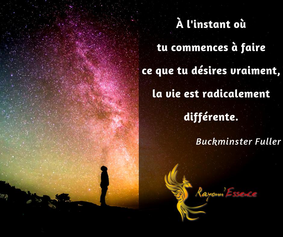 Citation : A l'instant où tu commences à faire ce que tu désires vraiment, la vie est radicalement différente. Buckminster Fuller